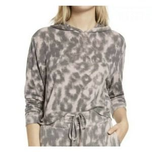 NWOT Blank NYC Leopard Print Pink Gray Hooded Fuzzy Top Soft Women's XS